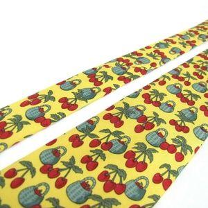 Hermes Accessories - HERMES PARIS Tie 7430 HA Yellow Red Cherry Fruit